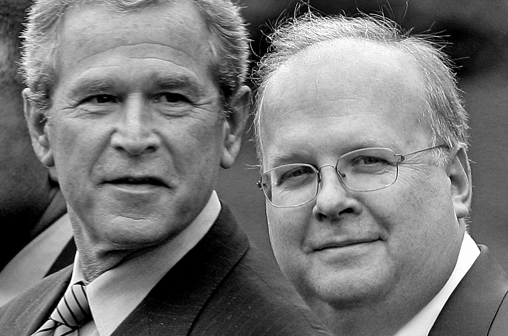 カール・ローブ氏(右)とブッシュ大統領=AP