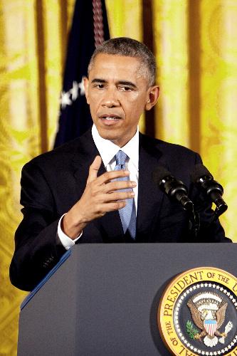 中間選挙での民主党敗北を受け記者会見するオバマ大統領=ワシントン、ランハム裕子撮影