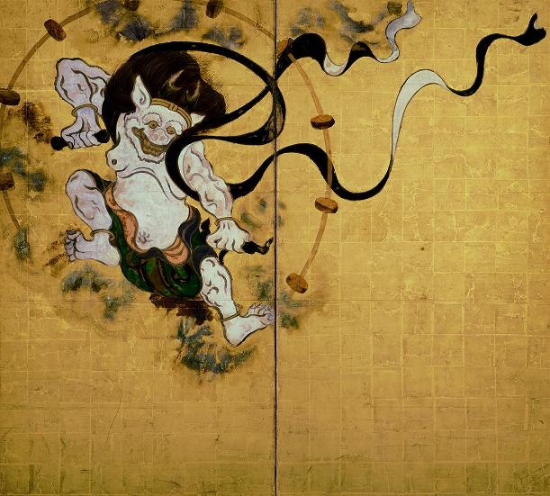 俵屋宗達筆の国宝「風神雷神図屛風」(左隻)=建仁寺所蔵