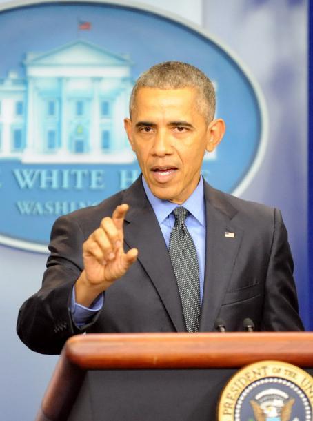 2015年最後の記者会見で、「一匹おおかみ型」テロへの警戒を呼びかけるオバマ大統領=2015年12月、ワシントン