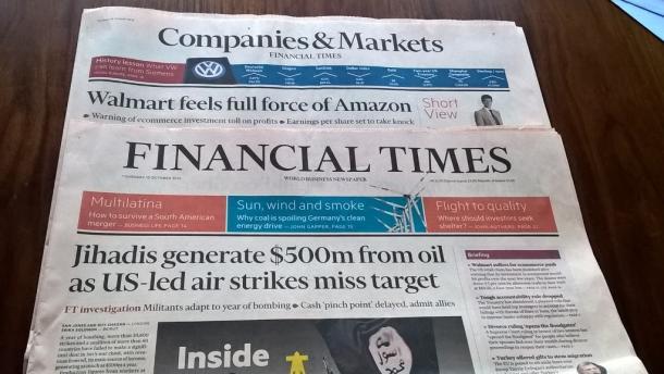 FTの平日版は本紙とマーケット情報版の2つに分かれている