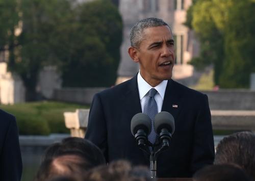 所感を述べるオバマ米大統領(広島市の平和記念公園、代表撮影)