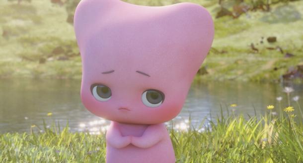 バレエシューズの「思い出」キャラクター、ルミン。鼻がないことで平面的な顔に大きな眼が目立ち、可愛らしい