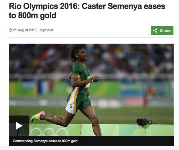セメンヤ選手の800メートルの走行ぶり(BBCのサイトより)