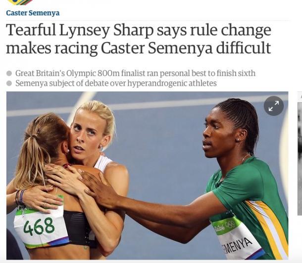 リオ五輪でほかの選手と抱き合うシャープ選手(左)と手を差し伸べるセメンヤ選手(ガーディアンより)