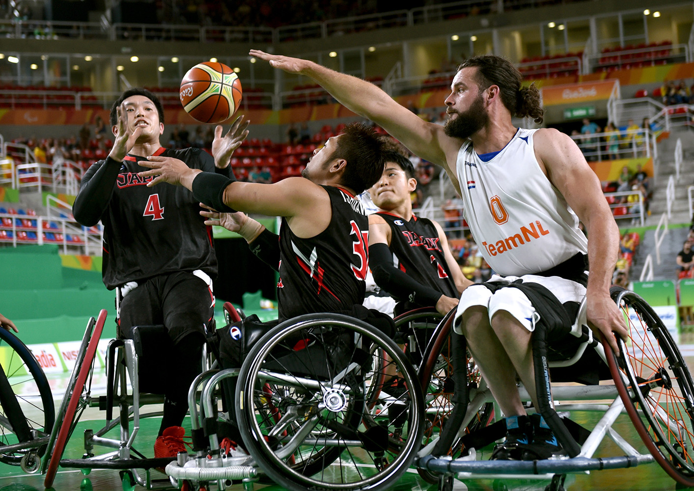 リオ・パラリンピックの車いすバスケット、日本―オランダ戦=井手さゆり撮影