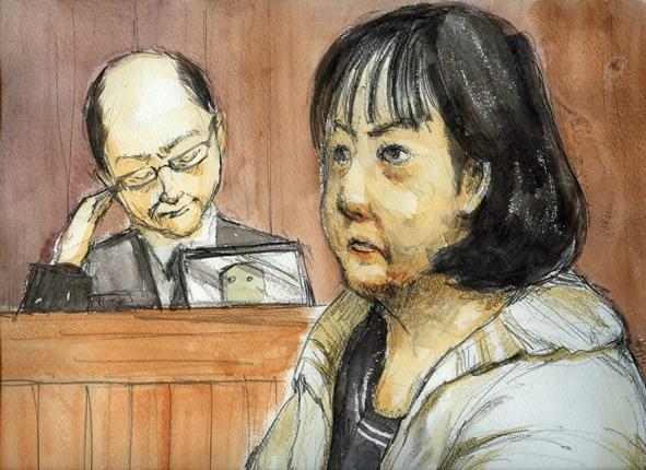 法廷の木嶋佳苗被告=2012年2月、さいたま地裁、絵と構成・仲澤瑞希