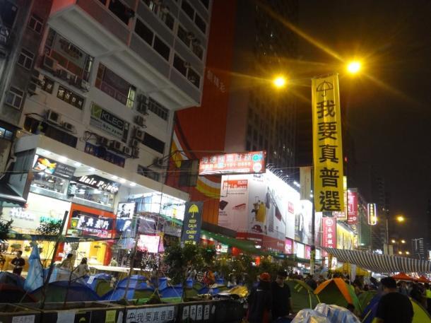 雨傘運動での選挙現場、旺角=2014年11月6日、撮影:五野井郁夫