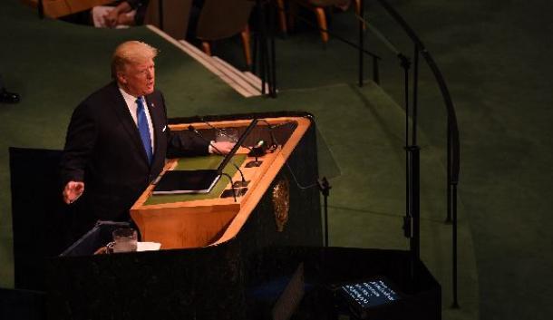 国連総会の一般討論で演説する米国のトランプ大統領=9月19日午前、米ニューヨークの国連本部
