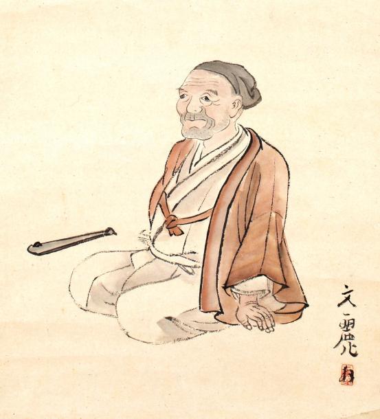 親しかった京都の画家が描いた晩年の上田秋成(部分)=柿衞文庫提供