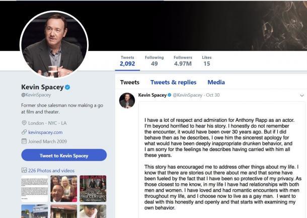 セクハラ疑惑の報道後に声明文を発表してから、ケビン・スペイシーのツイッターアカウントは更新されていない