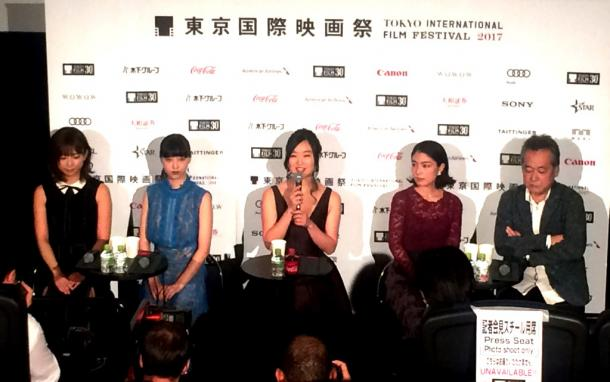 東京国際映画祭コンペティション部門出品、瀬々敬久監督『最低。』記者会見。=撮影・筆者