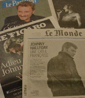 ジョニー・アリディーの死去を一面で伝えるル・モンド紙など新聞各紙