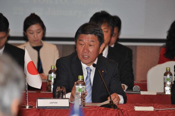 TPP首席交渉官会合の冒頭であいさつする茂木敏充経済再生担当相=1月22日、東京都新宿区