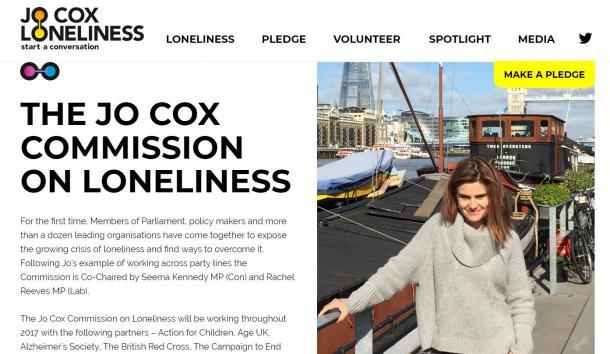 ジョー・コックス孤独問題委員会のウェブサイト。右がコックス議員