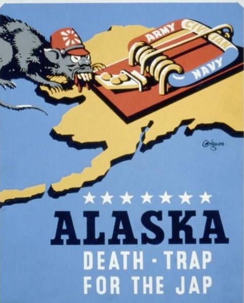 【写真7】  https://commons.wikimedia.org/wiki/File:Alaska_-_death-trap_for_the_Jap_LCCN98510121.jpg?uselang=ja