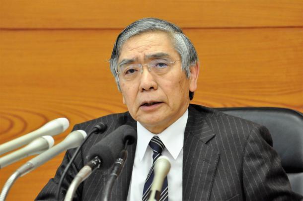 記者会見する日本銀行の黒田東彦総裁